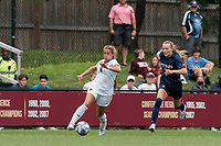 NEWTON, MA - AUGUST 29: Laura Gouvin #8 of Boston College dribbles as Sofia Weber #3 of University of Connecticut closes during a game between University of Connecticut and Boston College at Newton Campus Soccer Field on August 29, 2021 in Newton, Massachusetts.