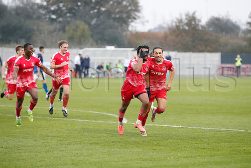 8th November 2020; SkyEx Community Stadium, London, England; Football Association Cup, Hayes and Yeading United versus Carlisle United; Amos Nasha of Hayes & Yeading United celebrates with Jordan Norville-Williams of Hayes & Yeading United after scoring his sides 2nd goal in the 108th minute to make it 2-0