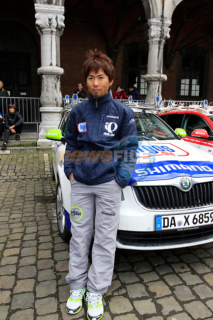 Yukihiro Doi (JPN) Team Argos-Shimano relaxes before the team presentations at the Palais Provincial in Liege city centre before the 98th edition of Liege-Bastogne-Liege 2012. 21st April 2012.  <br /> (Photo by Eoin Clarke/NEWSFILE).