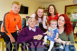 Jeremiah Sheehy from Duagh, who is a resident in the Oaklands Nurshing Home in Listowel, meets his great grand daughter for the first time on Tuesday. <br /> Seated l to r: Jeremiah Sheehy, Taylor Sheehy and Demi Stryker.<br /> Back l to r: Darragh, Kayleigh and Roseleen Sheehy.