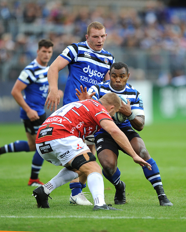 Semesa Rokoduguni of Bath Rugby runs into Ed Slater of Gloucester Rugby  during the Gallagher Premiership Rugby match between Bath Rugby and Gloucester Rugby at The Recreation Ground on Saturday 8th September 2018 (Photo by Rob Munro/Stewart Communications)