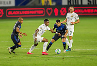 CARSON, CA - OCTOBER 14: Yony Gonzalez #11 of the Los Angeles Galaxy moves with the ball during a game between San Jose Earthquakes and Los Angeles Galaxy at Dignity Heath Sports Park on October 14, 2020 in Carson, California.