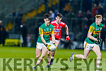 Paul O'Shea, Kerry moves forward with team mate Darragh Lyne giving support during the U20 Eirgrid Munster Football Final against Cork in Tralee last Wednesday March 4.