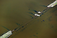 aerial photograph of a collapsed railroad during flooding in the Central Valley, Calornia