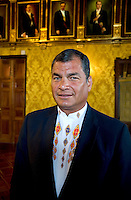 Portrait of Ecuador President Rafael Correa at the Government Palace in Quito PBS Royal Tour series.
