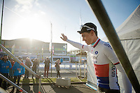 Zdenek Stybar (CZE/Etixx-QuickStep) waving to some cheering fans going onto the podium after finishing 2nd<br /> <br /> 58th E3 Harelbeke 2015