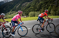 Maglia Rosa / overall leader Richard Carapaz (ECU/Movistar) following his closest GC rivals Vincenzo Nibali (ITA/Bahrain-Merida) & Primoz Roglic (SVK/Jumbo-Visma) in the final kilometers to the finish<br /> <br /> Stage 17: Commezzadura (Val di Sole) to Anterselva/Antholz (181km)<br /> 102nd Giro d'Italia 2019<br /> <br /> ©kramon