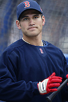 Johnny Damon of the Boston Red Sox before a 2002 MLB season game against the San Diego Padres at Qualcomm Stadium, in San Diego, California. (Larry Goren/Four Seam Images)