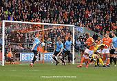 09/03/2019 Sky Bet League 1 Blackpool v Southend United<br /> <br /> Michael Turner blocks an Armand Gnanduillet shot