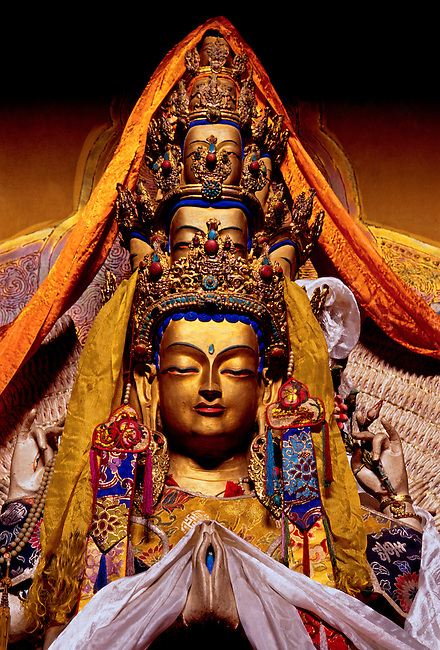 Statue of Chenrezi, Bodhisattva of Compassion, Trandruk Temple Monastery, Tibet Autonomous Region, China, Asia