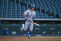 AZL Royals Jimmy Govern (8) jogs to first base after drawing a walk during an Arizona League game against the AZL Cubs 1 on June 30, 2019 at Sloan Park in Mesa, Arizona. AZL Royals defeated the AZL Cubs 1 9-5. (Zachary Lucy/Four Seam Images)