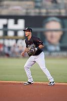 Birmingham Barons second baseman Nick Madrigal  (7) during a Southern League game against the Chattanooga Lookouts on July 24, 2019 at Regions Field in Birmingham, Alabama.  Chattanooga defeated Birmingham 9-1.  (Mike Janes/Four Seam Images)