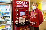 Paudie Sheehy enjoying a cup of Costa coffee in Powers GALA in Abbeydorney on Monday.