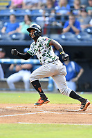 Augusta GreenJackets second baseman Kelvin Beltre (13) runs to first base during a game against the Asheville Tourists at McCormick Field on July 15, 2017 in Asheville, North Carolina. The Tourists defeated the GreenJackets 2-1. (Tony Farlow/Four Seam Images)