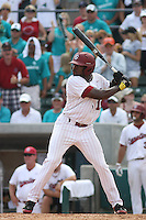 University of South Carolina Gamecocks centerfielder Jackie Bradley jr. #19 at bat during the 2nd and deciding game of the NCAA Super Regional vs. the University of Coastal Carolina Chanticleers on June 13, 2010 at BB&T Coastal Field in Myrtle Beach, SC.  The Gamecocks defeated Coastal Carolina 10-9 to advance to the 2010 NCAA College World Series in Omaha, Nebraska. Photo By Robert Gurganus/Four Seam Images