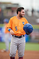 St. Lucie Mets third baseman Michael Paez (5) during a game against the Clearwater Threshers on August 11, 2018 at Spectrum Field in Clearwater, Florida.  St. Lucie defeated Clearwater 11-0.  (Mike Janes/Four Seam Images)