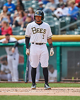 Sherman Johnson (3) of the Salt Lake Bees at bat against the El Paso Chihuahuas in Pacific Coast League action at Smith's Ballpark on April 30, 2017 in Salt Lake City, Utah. El Paso defeated Salt Lake 3-0. This was Game 1 of a double-header. (Stephen Smith/Four Seam Images)