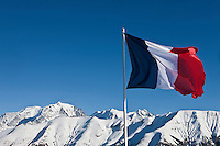 Europe/France/Rhône-Alpes/74/Haute-Savoie/Megève: Mont Blanc depuis la terrasse du Restaurant d'Altitude: L'Alpette au sommet de Rochebrune