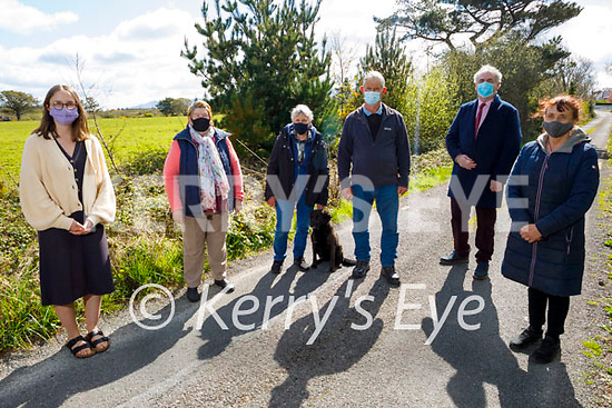 Local residents in Tullig Upper, Killorglin worried about the condition of the road on Saturday. L to r: Ruth Cronin, Kathleen O'Shea, Marion and Tom O'Sullivan, Cllr Michael Cahill and Marion Cronin.