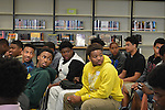 Worthing HS football team members await the arrival of the Houston Texans Ambassadors in honor of Black History Month.