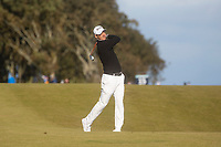 1st October 2021; Kingsbarns Golf Links, Fife, Scotland; European Tour, Alfred Dunhill Links Championship, Second round; Martin Kaymer of Germany hits a shot from the fairway on the twelfth hole at Kingsbarns Golf Links