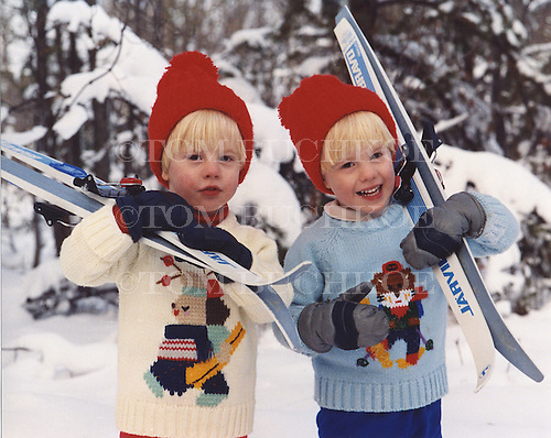 Twins MIchael and Eric prepare to go cross county skiing.
