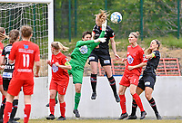duel pictured between goalkeeper Willeke Willems (1) of Woluwe and Lotte De Wilde (19) of Zulte-Waregem during a female soccer game between FC Femina White Star Woluwe and SV Zulte Waregem on the fifth matchday of play off 2 in the 2020 - 2021 season of Belgian Scooore Womens Super League , Saturday 8 th of May 2021  in Woluwe , Belgium . PHOTO SPORTPIX.BE   SPP   DAVID CATRY