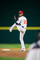 Binghamton Rumble Ponies relief pitcher Joshua Torres (26) delivers a pitch during a game against the Erie SeaWolves on May 14, 2018 at NYSEG Stadium in Binghamton, New York.  Binghamton defeated Erie 6-5.  (Mike Janes/Four Seam Images)