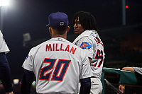 Jacksonville Jumbo Shrimp Sixto Sanchez (43) talks with J.C. Millan (20) during a Southern League game against the Mobile BayBears on May 28, 2019 at Baseball Grounds of Jacksonville in Jacksonville, Florida.  Mobile defeated Jacksonville 2-1.  (Mike Janes/Four Seam Images)
