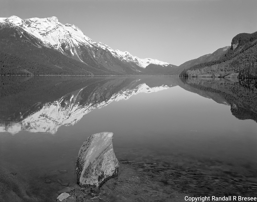 """""""Chilkoot Lake"""" <br /> Alaska <br /> <br /> Chilkoot Lake is located near Haines, Alaska. The scenery around the lake is spectacular as it is for many lakes in Alaska. This black and white photograph shows one view of the scenery that surrounds Chilkoot Lake."""