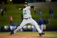 Clinton LumberKings relief pitcher Ronald Dominguez (45) delivers a pitch during a game against the South Bend Cubs on May 5, 2017 at Four Winds Field in South Bend, Indiana.  South Bend defeated Clinton 7-6 in nineteen innings.  (Mike Janes/Four Seam Images)