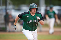 Dartmouth Big Green first baseman Michael Calamari (3) runs to first base during a game against the Southern Maine Huskies on March 23, 2017 at Lake Myrtle Park in Auburndale, Florida.  Dartmouth defeated Southern Maine 9-1.  (Mike Janes/Four Seam Images)