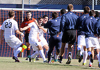 Steve Neumann #18 of Georgetwn University surrounded by teammates after scoring the winning goal during a Big East match against Villanova University at North Kehoe Field, Georgetown University on October16 2010 in Washington D.C. Georgetown won 3-1.