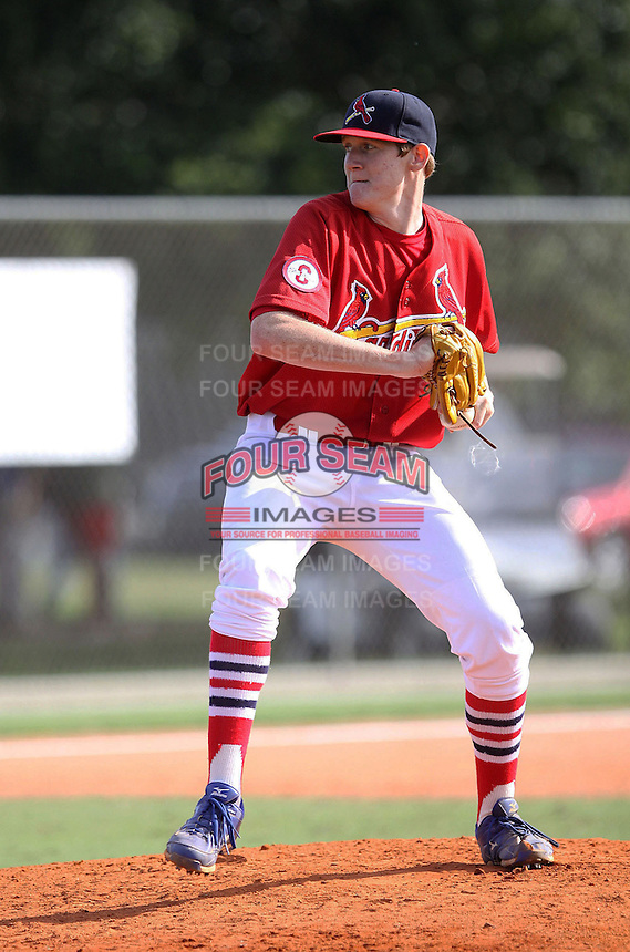 Michael Zimmerman, #41 of Gulf Coast High School, FL playing for the Cardinals Scout Team / FTB Chandler during the WWBA World Championship 2013 at the Roger Dean Complex on October 26, 2013 in Jupiter, Florida. (Stacy Jo Grant/Four Seam Images)
