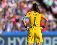 PARIS,  - JUNE 16: Christiane Endler #1 looks for a corner kick during a game between Chile and USWNT at Parc des Princes on June 16, 2019 in Paris, France.