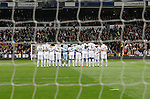 Real Madrid's players during the minute's silence in memory of earthquake victims in Japan during La Liga match.March 12,2011. (ALTERPHOTOS/Acero)