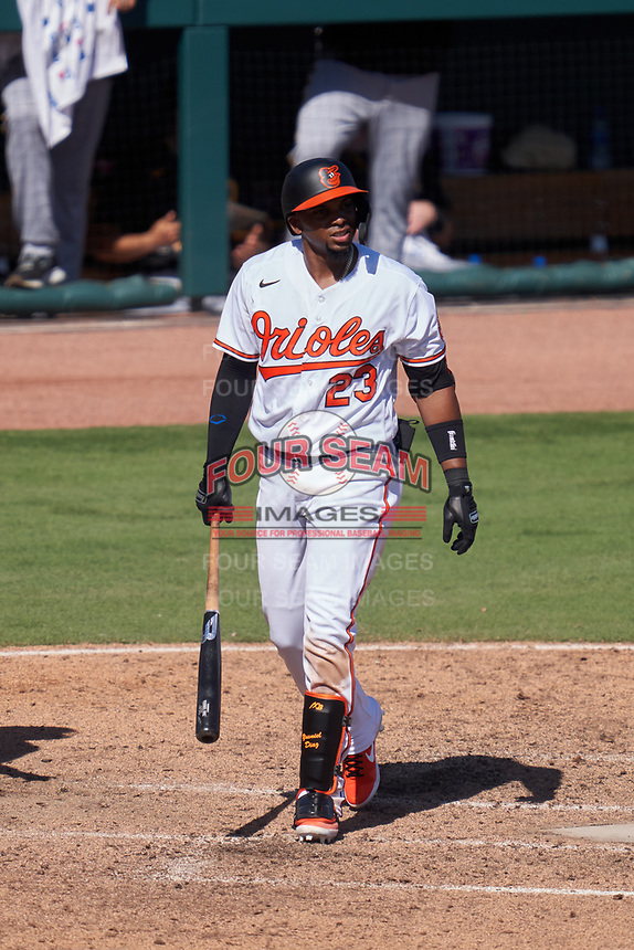 Baltimore Orioles Yusniel Diaz (23) bats during a Major League Spring Training game against the Pittsburgh Pirates on February 28, 2021 at Ed Smith Stadium in Sarasota, Florida.  (Mike Janes/Four Seam Images)