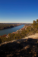 Mount Bonnell is a prominent point alongside Lake Austin in Austin, Texas. It has been a popular tourist destination since the 1850s. The mount provides a vista for viewing the city of Austin, Lake Austin, and the surrounding hills. There is a short trail to go along with the spectacular views that draw so many people there. Mount Bonnell is generally considered the highest point in Austin at 775 feet.