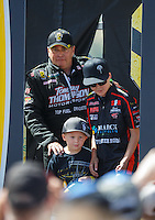 Jul 24, 2016; Morrison, CO, USA; NHRA top fuel driver Scott Palmer during the Mile High Nationals at Bandimere Speedway. Mandatory Credit: Mark J. Rebilas-USA TODAY Sports