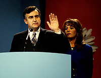 """Montreal (Qc) CANADA - File Photo - Oct 30 1995 -<br /> <br /> Lucien Bouchard, Leader Bloc Quebecois and wife  adress the crowd present at the Montreal Convention Centre on the Referendum night, Oct 30 1995.<br /> <br /> The 1995 Quebec referendum was the second referendum to ask voters in the Canadian province of Quebec whether Quebec should secede from Canada and become an independent state, through the question:<br /> <br />     * Do you agree that Qu»bec should become sovereign after having made a formal offer to Canada for a new economic and political partnership within the scope of the bill respecting the future of Qu»bec and of the agreement signed on June 12, 1995?.<br /> <br /> The 1995 referendum differed from the first referendum on Quebec's sovereignty in that the 1980 question proposed to negotiate """"sovereignty-association"""" with the Canadian government, while the 1995 question proposed """"sovereignty"""", along with an optional partnership offer to the rest of Canada.<br /> <br /> The referendum took place in Quebec on October 30, 1995, and the motion to decide whether Quebec should secede from Canada was defeated by a very narrow margin of: 50.58% """"No"""" to 49.42% """"Yes""""."""