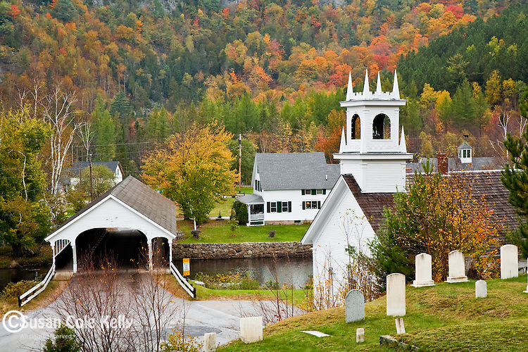 The Stark Union Church and covered bridge, Stark, NH