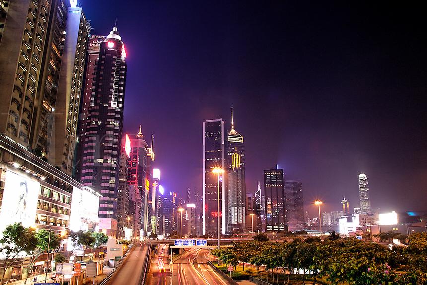 Hong Kong city skyline at night, Hong Kong SAR, China, Asi