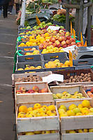Fruits, apples and vegetables for sale at a market stall at the market in Bergerac Dordogne France
