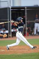 Rayder Ascanio #26 of the AZL Mariners bats against the AZL Giants at the Peoria Sports Complex on July 10, 2014 in Peoria, Arizona. AZL Giants defeated the AZL Mariners, 8-4. (Larry Goren/Four Seam Images)