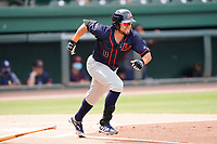 Third baseman Jonathan Aranda (8) of the Bowling Green Hot Rods in a game against the Greenville Drive on Sunday, May 9, 2021, at Fluor Field at the West End in Greenville, South Carolina. (Tom Priddy/Four Seam Images)