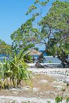 Thatched beach umbrellas providing shade in Kiritimati in Kiribati