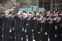 Members of FDNY Ten House, Engine Company 10 and Ladder Company 10, stand at attention in remembrance of the 343 firefighters who gave their lives on 9/11/01, on the 20th anniversary of the September 11, 2001 terrorist attack on the World Trade Center and the Pentagon in New York, New York, on Saturday, September 11, 2021.<br /> CAP/MPI/RS<br /> ©RS/MPI/Capital Pictures