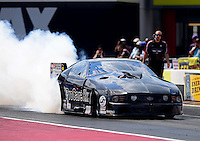 Sept. 15, 2012; Concord, NC, USA: NHRA pro mod driver Leah Pruett during qualifying for the O'Reilly Auto Parts Nationals at zMax Dragway. Mandatory Credit: Mark J. Rebilas-