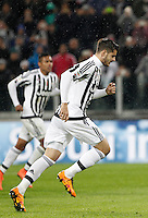 Calcio, Serie A: Juventus vs Inter. Torino, Juventus Stadium, 28 February 2016.<br /> Juventus' Alvaro Morata celebrates after scoring on a penalty kick during the Italian Serie A football match between Juventus and Inter at Turin's Juventus Stadium, 28 February 2016.<br /> UPDATE IMAGES PRESS/Isabella Bonotto