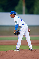 Bluefield Blue Jays starting pitcher Nathanael Perez (28) looks in for the sign during the second game of a doubleheader against the Bristol Pirates on July 25, 2018 at Bowen Field in Bluefield, Virginia.  Bristol defeated Bluefield 5-2.  (Mike Janes/Four Seam Images)